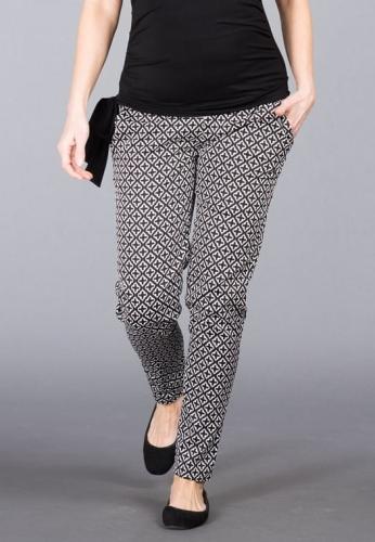 21614e930cead2 Ancona czarno-białe spodnie ciążowe do pracy i eleganckie Mamabaja