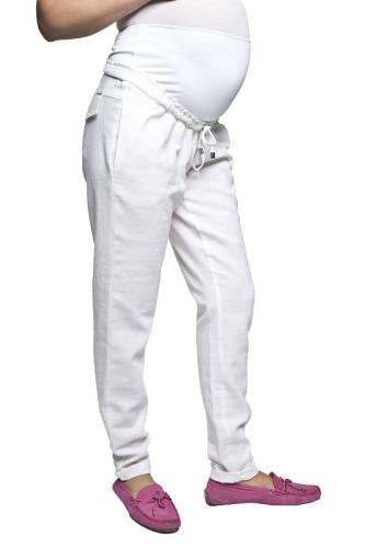 06efc0095383fa Lanti białe lniane spodnie ciążowe Mamabaja