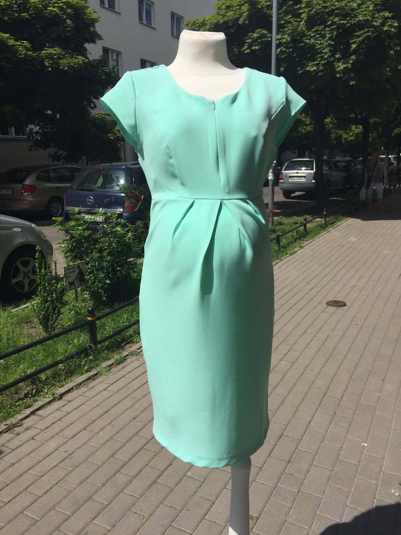 75951216ab Alicja miętowa sukienka ciążowa z opcją karmienia Mamabaja